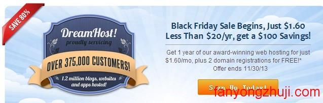 Dreamhost Black Friday 优惠$100,主机2折仅$19.2/年,免费送两域名