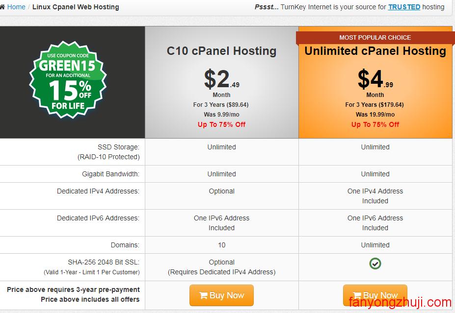 TurnKey Internet-美国老牌主机仅$1/月介绍及购买教程
